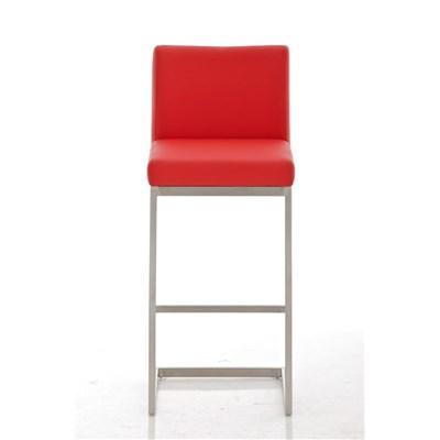 Taburete de Diseño Para Barra PARROT, En Piel Roja y Estructura en Acero Inoxidable, Gran Acolchado