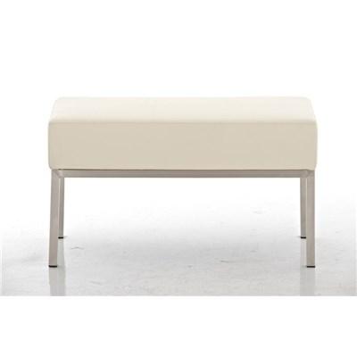 Banco de 2 plazas MARA, En Piel Crema y Estructura de Acero Inoxidable, 80 x 40 cm