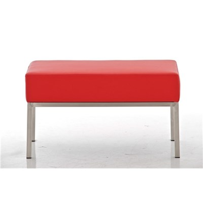 Banco de 2 plazas MARA, En Piel Roja y Estructura de Acero Inoxidable, 80 x 40 cm