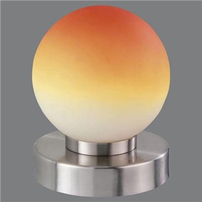 Lámpara de mesa TOUCH ME, en níquel mate, vidrio opalo naranja