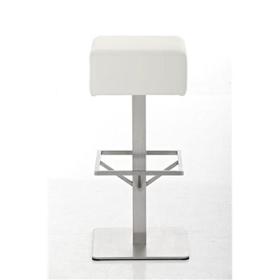 Taburete de Bar MARK 76 PIEL, en acero inoxidable, altura asiento 76cm, tapizado en piel Blanco