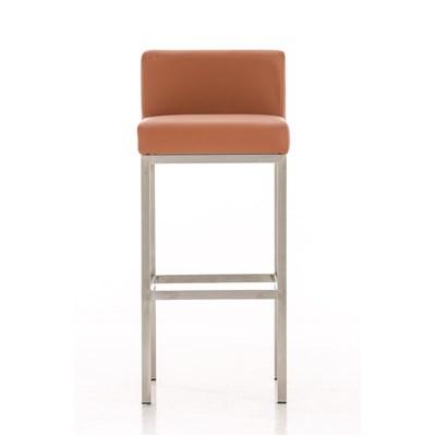 Taburete para Bar LUCIUS A, máxima calidad, estructura en acero, asiento 76cm, en piel marrón claro