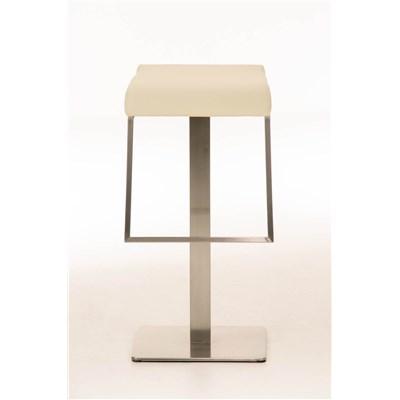 Taburete de Bar LAMA 78, estructura en acero, diseño ergonómico, en piel color crema