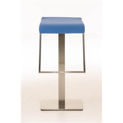 Taburete de Bar LAMA 78, estructura en acero, diseño ergonómico, en piel color azul