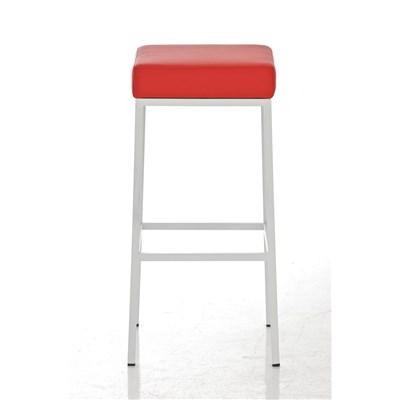 Taburete para Barra o Bar CANADA 80cm, Asiento en Piel Rojo y Estructura en Metal Blanco
