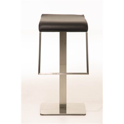 Taburete de Bar LAMA 85, estructura en acero, diseño ergonómico, en piel color negro