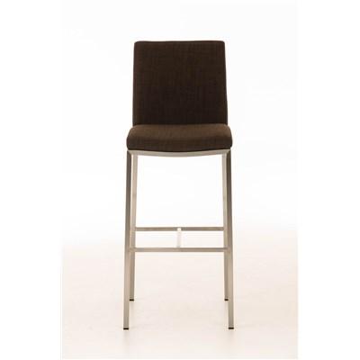 Taburete de Bar LINCON Tela, estructura de acero inoxidable, muy resistente, tapizado en tela marrón