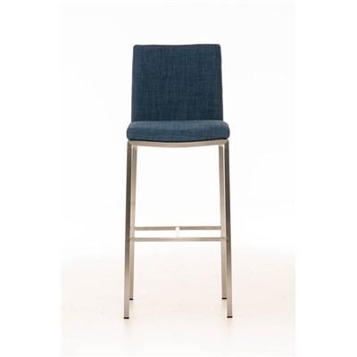Taburete de Bar LINCON Tela, estructura de acero inoxidable, muy resistente, tapizado en tela azul