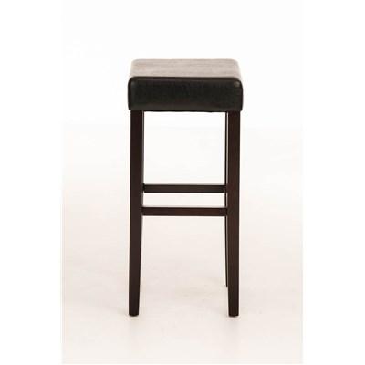 Taburete de Madera diseño LOLA, altura asiento 80cm en madera marrón y piel color negro