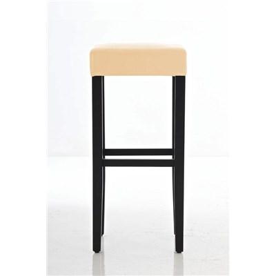 Taburete de Madera diseño LOLA, altura asiento 80cm en madera negra y piel color crema
