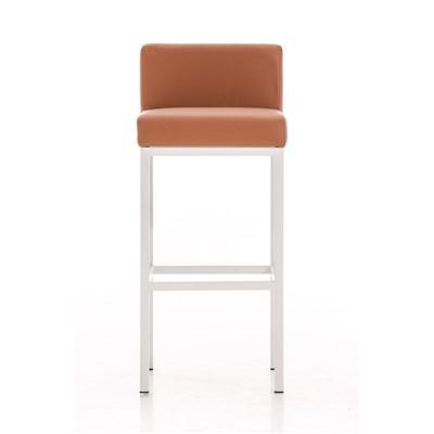 Taburete para Bar LUCIUS D, estructura metálica en blanco mate, altura asiento 76cm, en piel marrón claro