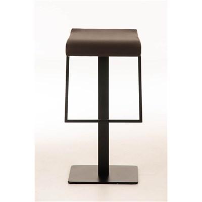 Taburete de Bar LAMA 78, estructura metálica en negro, diseño ergonómico, en piel color marrón