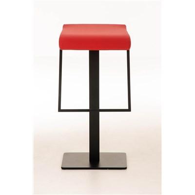 Taburete de Bar LAMA 78, estructura metálica en negro, diseño ergonómico, en piel color rojo
