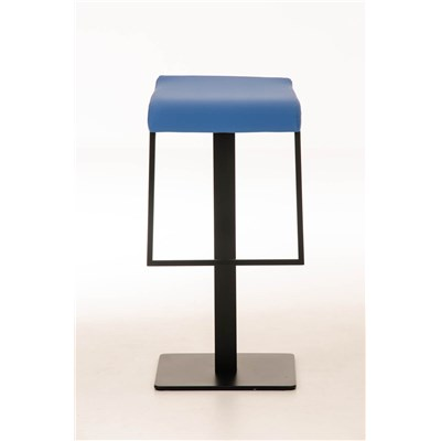 Taburete de Bar LAMA 78, estructura metálica en negro, diseño ergonómico, en piel color azul