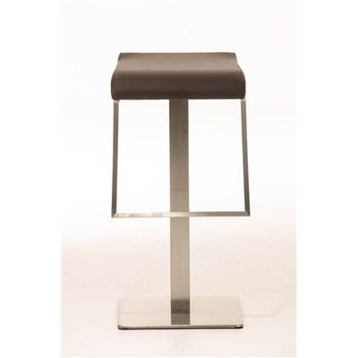 Taburete de Bar LAMA 85, estructura en acero, diseño ergonómico, en piel color marrón