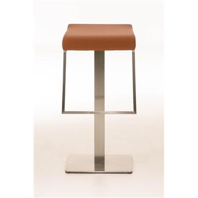 Taburete de Bar LAMA 85, estructura en acero, diseño ergonómico, en piel color marrón claro