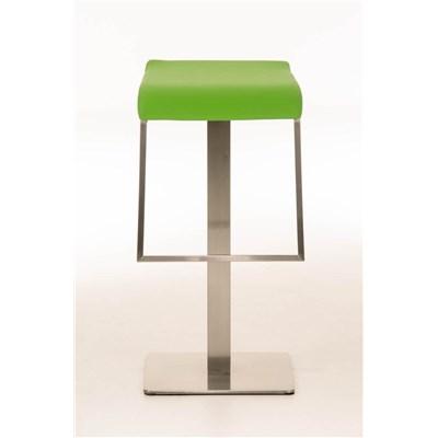 Taburete de Bar LAMA 85, estructura en acero, diseño ergonómico, en piel color verde