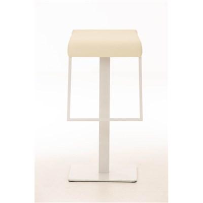 Taburete de Bar LAMA 78, estructura metálica en blanco, diseño ergonómico, en piel color crema