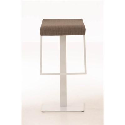 Taburete de Bar LAMA 78 Tela, estructura metálica en blanco, diseño ergonómico, en tejido color gris