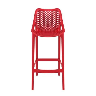 Taburete de Diseño DANIELA, perfecto para exteriores, fabricado en polipropileno color rojo