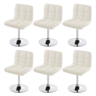 Conjunto de 6 sillas de Comedor GENOVA, Giratorias, Muy cómodas, Color Blanco