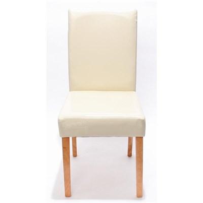 DEMO# Lote 4 Sillas de Comedor LITAU PIEL REAL, precioso diseño, Crema, patas claras