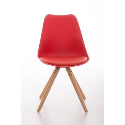 Lote 2 Sillas TAYLOR, Color Rojo, Patas de Madera Claras, Asiento en Piel, Diseño Exclusivo