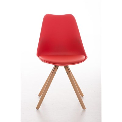 Lote 4 Sillas TAYLOR, Color Rojo, Patas de Madera Claras, Asiento en Piel, Diseño Exclusivo