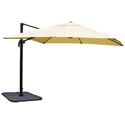 Sombrilla / Parasol IDRA CON SOPORTE Y GIRATORIA, de 3 x 3 metros, Crema, Ajustable