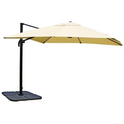 Sombrilla / Parasol IDRA CON SOPORTE, de 3 x 3 metros, color Crema, Ajustable, Cruz de suelo Incluida