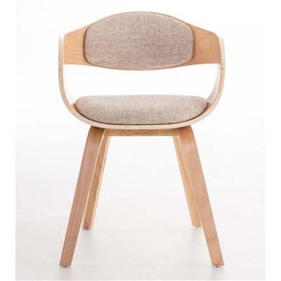 Lote de 4 sillas de Comedor BOLONIA, en Tela Crema, Estructura de Madera color Natural