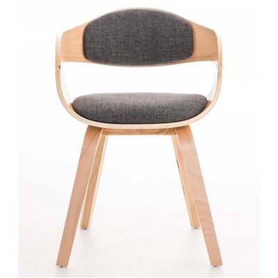 Lote de 4 sillas de Comedor BOLONIA, en Tela Gris Claro, Estructura de Madera color Natural