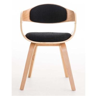 Lote de 4 sillas de Comedor BOLONIA, en Tela Negra, Estructura de Madera color Natural