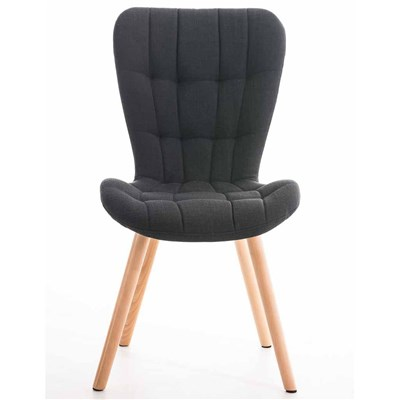 Lote de 4 sillas de Comedor PADUA, en Tela Negra, Patas de Madera color Natural