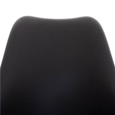 Lote de 6 Sillas de Comedor LOREN, Estructura en Plástico y Piel Negra, Patas Blancas