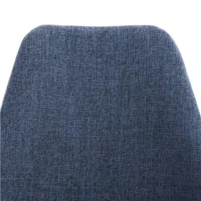 Lote de 4 Sillas de Comedor BAHIA, en Tela Azul y Patas Blancas