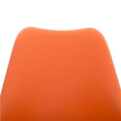 Lote de 6 Sillas de Comedor BAHIA PIEL, en Naranja y Patas Blancas