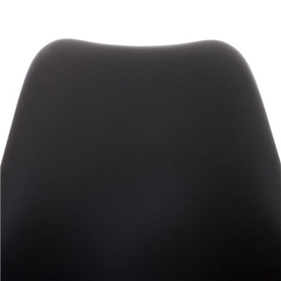 Lote de 4 Sillas de Comedor BAHIA PIEL, en Negro y Patas Blancas