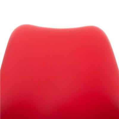 Lote de 4 Sillas de Comedor BAHIA PIEL, en Rojo y Patas Blancas