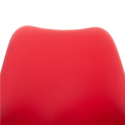 Lote de 6 Sillas de Comedor BAHIA PIEL, en Rojo y Patas Blancas