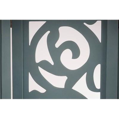 Biombo 4 paneles CLOVIS,  Estructura de Madera Color Gris, 170x160x2cm