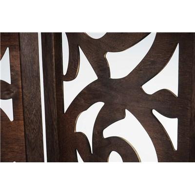 Biombo 4 paneles CLOVIS,  Estructura de Madera Color Marrón, 170x160x2cm