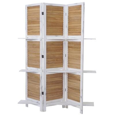 Biombo 3 paneles TIRSO, Estructura de Madera con Estantes, en Blanco/Marrón, 170x125x2cm