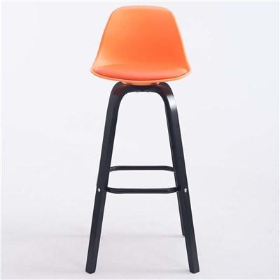 Taburete con Respaldo ROXIO, Estructura de Madera, en Piel color Naranja y Patas Negras