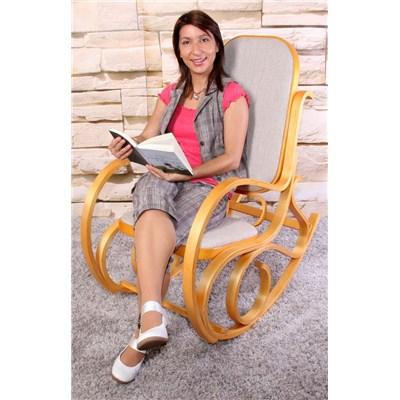 DEMO# Mecedora Silla de madera M41, estructura en color roble y tapizado tela beige