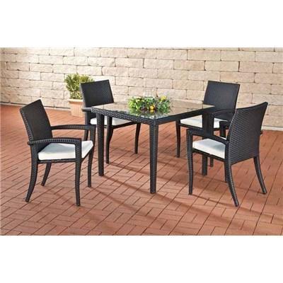Conjunto Muebles de Jardín BARLI, en poly ratán: Mesa 100x100cm + 4 sillas, color nero