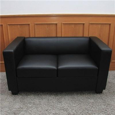 Sofa de 2 plazas LILLE, muy cómodo, en polipiel, color negro
