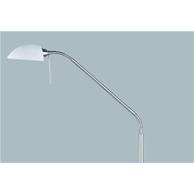 Lámpara de Pie en níquel mate, con cristal blanco, altura 135cm