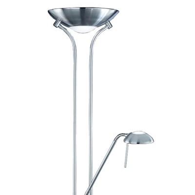 Lámpara de Pie Halógena con luz para lectura, níquel satinado, regulable