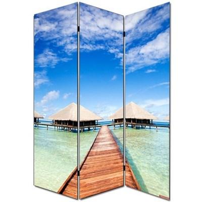 Biombo separador M68, dimensiones 180x120cm, decorado ambas caras, diseño playa